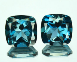 Custom Calibrated 2.37Cts Natural London Blue Topaz Cushion 2 Pcs Brazil Pa