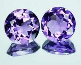 3.59 Cts Natural Purple Amethyst 8mm Round Cut 2 Pcs Bolivia