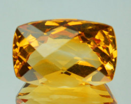 4.16Cts Natural Golden Orange Citrine Cushion Checker board Cut Brazil