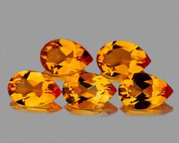 9x6 mm Pear 5 pcs 6.03cts Golden Citrine [VVS]