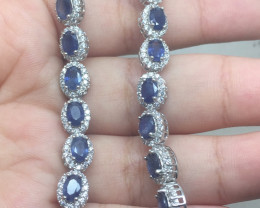(B20) Stunning 79.5tcw. Natural Blue Sapphire CZ Bracelet Heated