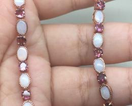 (B23) Delightful Nat 45.5tcw. Fire Opal & Tourmaline Bracelet