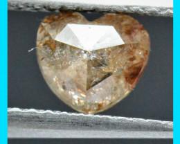 0.73ct 6mm Brown orange heart shape diamond rose cut  6mm by 5.4mm by 2.7mm