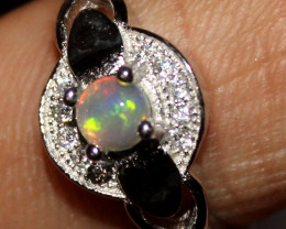 Natural Ethiopian Welo Fire Opal 925 Silver Ring Size (6 US ) 332