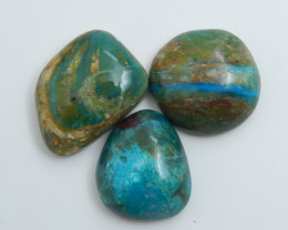 3pcs Natural Blue Opal Cabochon, October Birthstone, Blue Opal Bead C596