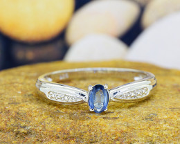 N/R Natural BLUE SAPPHIRE 925 Sterling Silver Ring  (SSR0509)