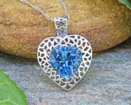 Natural Swiss Blue Topaz Heart 925 Sterling Silver Pendant (SSP0545)