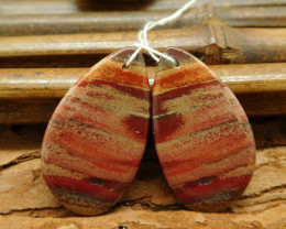 Red river jasper matched earring pais cabochon pairs (G0257)