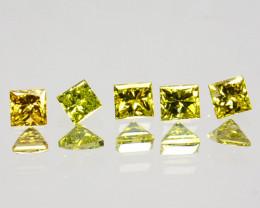 0.19 Cts Natural Sparkling Yellow Diamond 5 Pcs Princess Cut Africa