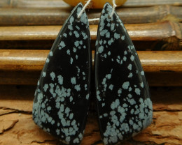Snow flake obsidian triangle earring pairs (G0267)