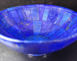1694 CT Unheated ~ Natural Blue  color Lapis Carved Bowl Special Shape