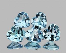 5.00 mm Heart 5 pcs 2.20cts Sky Blue Aquamarine [VVS]