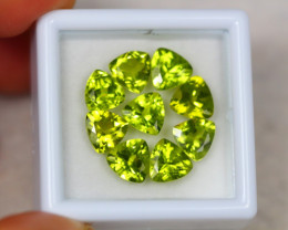 7.48ct Green Peridot Trillion Cut Lot V4199
