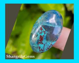 30mm Azurute Chrysocolla Cuprite oval shape cabochon blue turquoise
