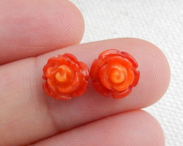 4cts Coral Rose pendant, Coral Flower necklace, Summer beads