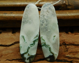 Natural gemstone moss agate earring pair for jewelry making (G0276)