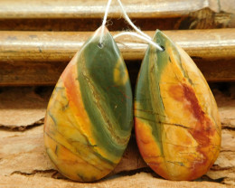Custom Picasso jasper earring pairs pear shape cabochon bead (G0279)