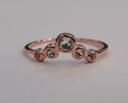 White topaz 925 Sterling silver Rose gold plated ring #9680