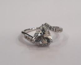 White Quartz 925 Sterling silver ring #499