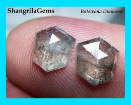 7.4mm Pair Salt Pepper diamonds hexagon rose cut free form 2.28ct