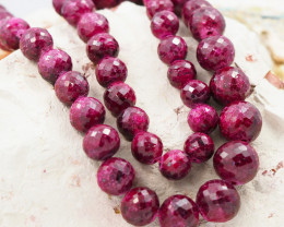 AMAZING  624 CTS AFRICAN FACETED RUBY STRAND BEADS GG 1082