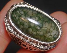 128.15 CT Beautiful GREEN Dragon Skin Agate Jewelry Ring