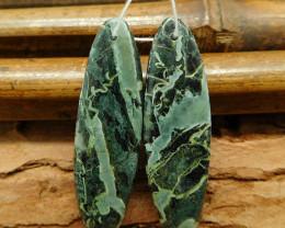 New design oval cut green jasper earring beads (G0284)