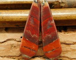 New design red jasper earring pair (G0291)