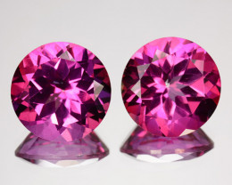 5.02 Cts Candy Pink Natural Topaz 8mm Round Cut 2 Pcs Brazil