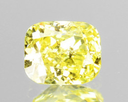 ~UNTREATED~ 0.15 Cts Natural Yellow Diamond Cushion Cut Africa