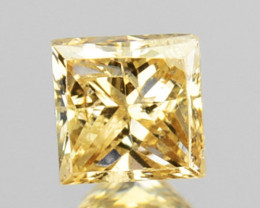 ~UNTREATED~ 0.19 Cts Natural Yellow Diamond Square Cut Africa