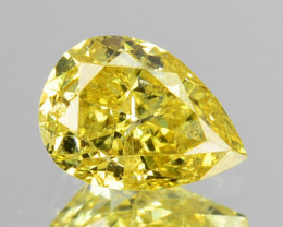~UNTREATED~ 0.29 Cts Natural Yellow Diamond Pear Cut Africa