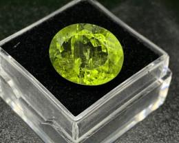 IPGTL Certified Peridot Loose Gemstone - 9.92 carats - Cut Oval
