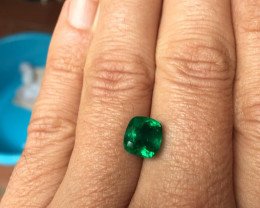 Superb 4,08ct Colombian Emerald Ref 2/2 Cushion