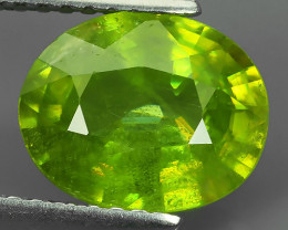 2.92 ct Natural Intense Beautiful Green Sphene Oval Shape Madagascar