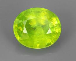 1.55 Cts:Lustrous Vivid Greenish Yellow Hue Natural Sphene!!