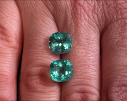 Wonderful Pair 7,37ct Colombian Emerald Ref 17+18/76