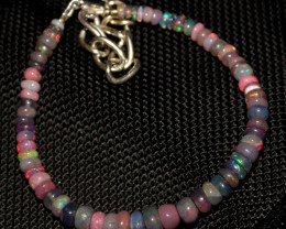 20 Crt Natural Ethiopian Welo Fire Smoked Opal Beads Bracelet 369