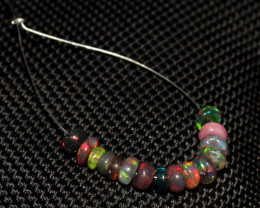 3.75 Crts Natural Ethiopian Welo Smoked Opal Beads Demi Strand 65