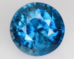 ~STUNNING~ 1.82 Cts Natural Sparkling Blue Zircon 6.2 mm Round Cambodia