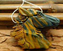 Iron tiger eye carved horse head pendant gemstone animal craft (G0294)