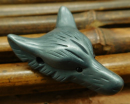Natural hematite carving wolf head pendant wolf jewelry (G0298)