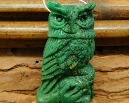 Natural stone african jade carving owl pendant bead (G0304)