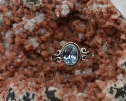 BLUE TOPAZ RING 925 STERLING SILVER NATURAL GEMSTONE JE1989