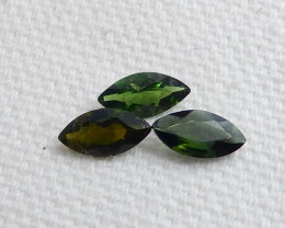 3pcs Beautiful Green Tourmaline Cabochons ,Summer Gemstone ,Healing