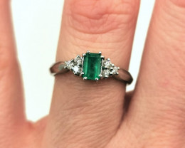 0,42ct Colombian Emerald 18k Solid Gold Ring Colombian Emerald Colombian Em