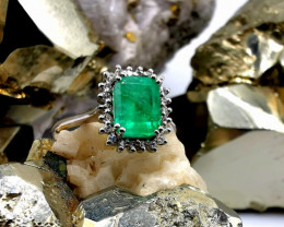 1,54ct Colombian Emerald 18k Solid Gold Ring Colombian Emerald Colombian Em