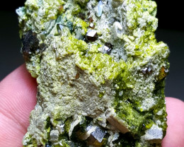 Amazing Epidote combine with Garnet have good luster 235Cts-Afghan