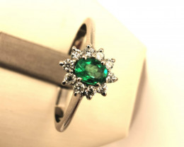 0,13ct Colombian Emerald 18k Solid Gold Ring Colombian Natural Emerald Colo