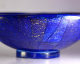 1504 CT Unheated ~ Natural Blue  color Lapis Carved Bowl Special Shape